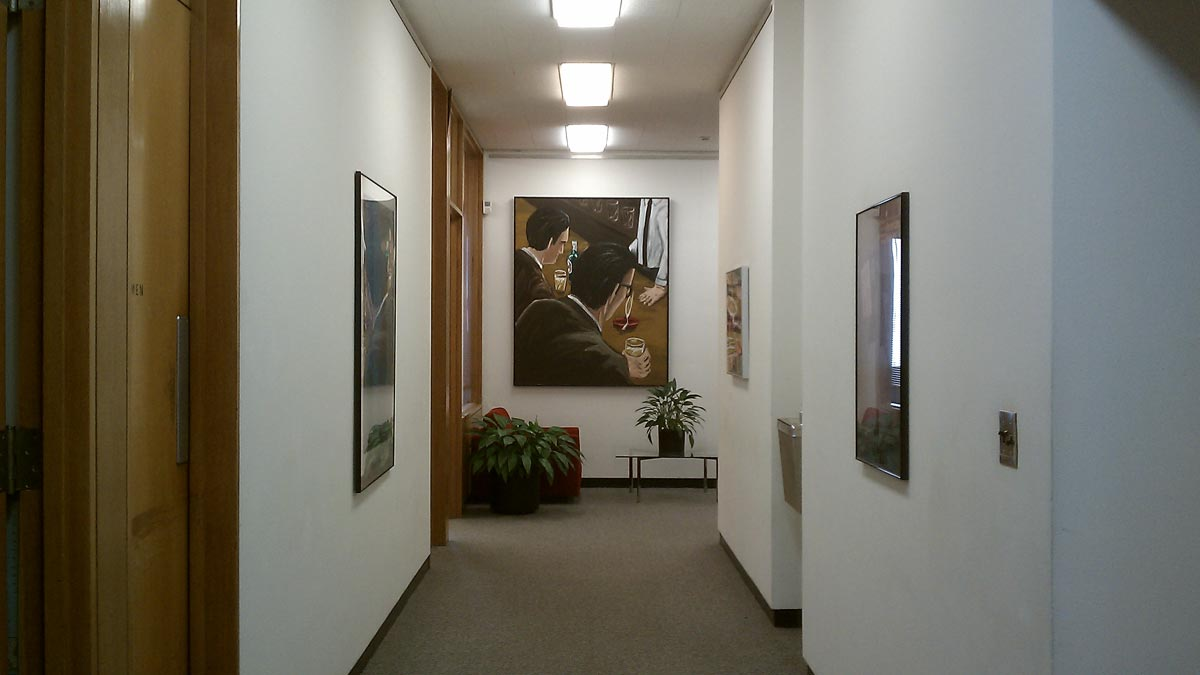 Museum offices with view toward Richard Bosman's Bar Talk (1983).