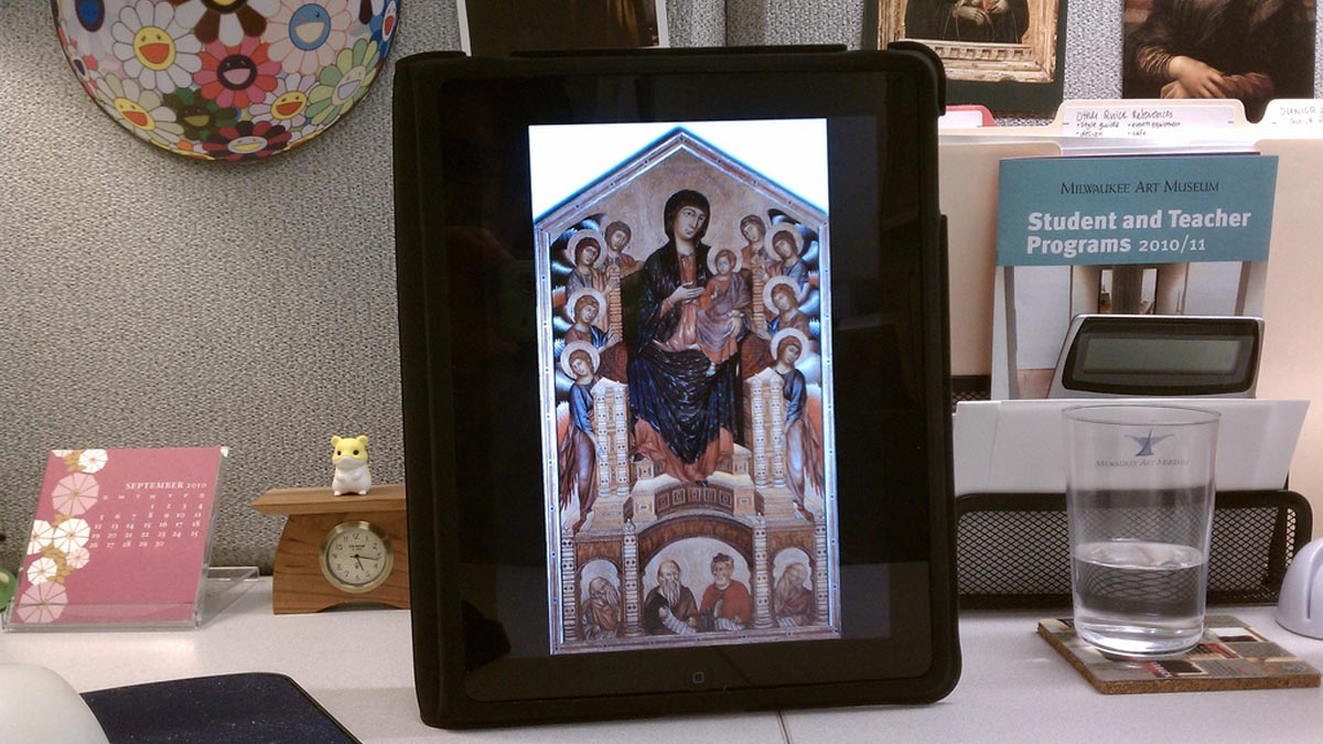 iPad with Cimabue's Madonna and Child