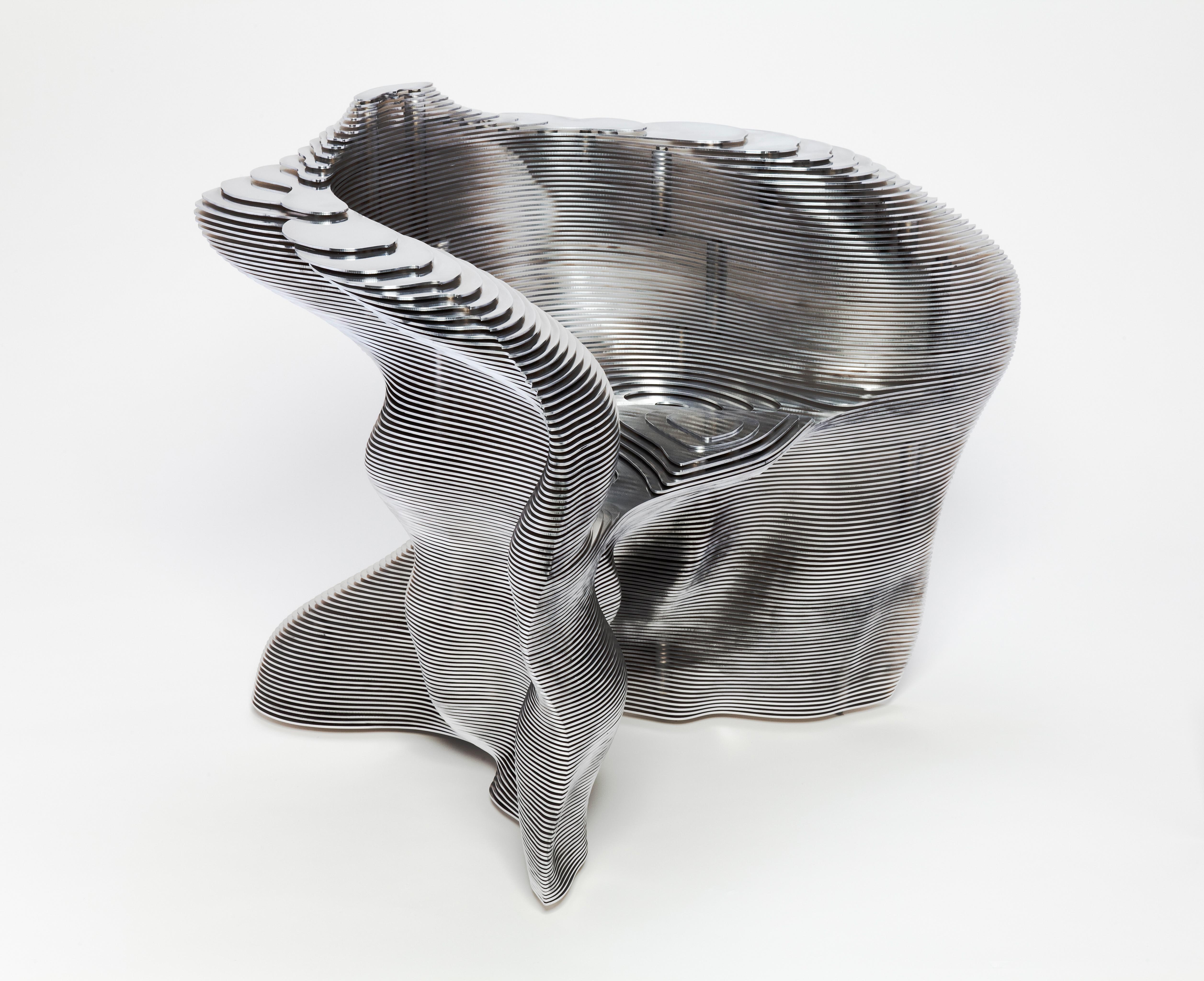 Mathias Bengtsson (Danish, b. 1971) Slice Chair, 1999 Aluminum 29 1/2 x 35 x 29 in. (74.93 x 88.9 x 73.66 cm) Gift of Friends of Art M2011.11 Photo credit John R. Glembin © Mathias Bengtsson, Courtesy of Industry Gallery