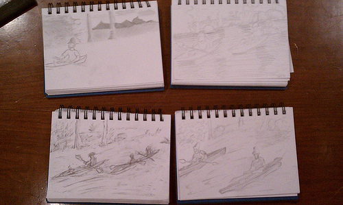 Satellite students' sketches of the Museum's Caillebotte.
