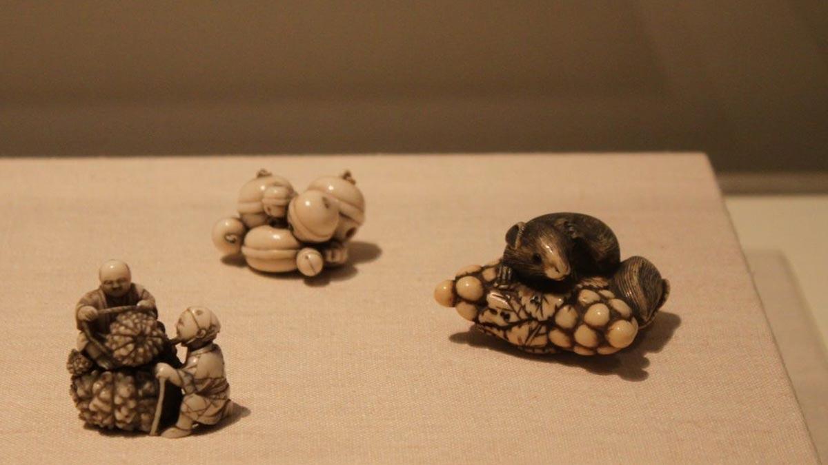 View of three netsuke, Asian galleries