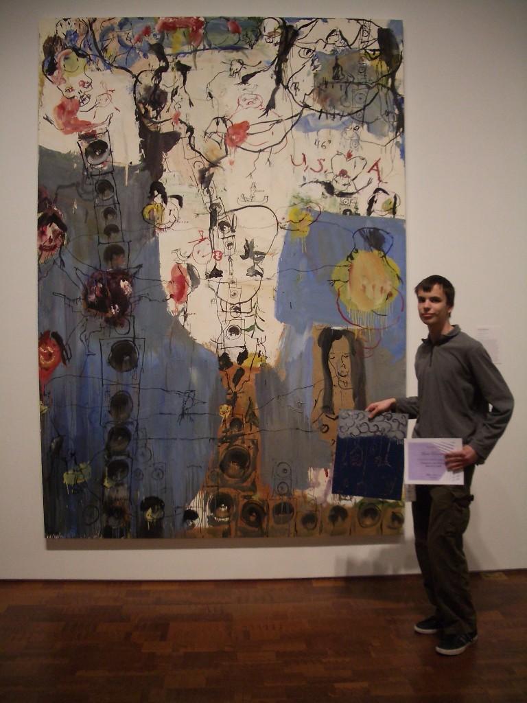 Marco in front of his chosen work: Brad Kahlhamer, 46 Degrees USA, 2001. Purchase, Doerfler Fund