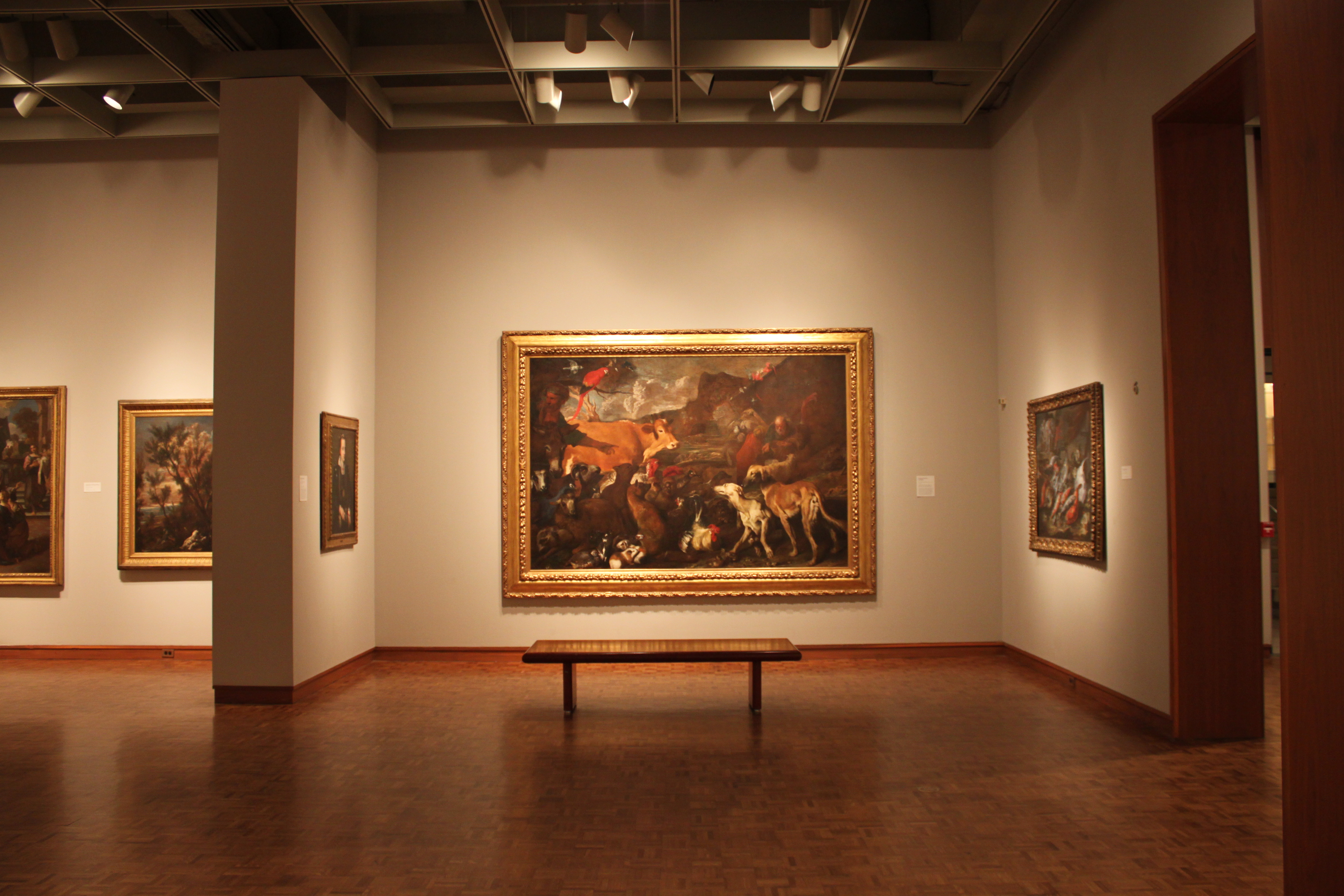 View of Giovanni Benedetto Castiglione, Noah and the Animals Entering the Ark, ca. 1650. Oil on canvas. Centennial Gift of Friends of Art, Myron and Elizabeth P. Laskin Fund, Fine Arts Society, Friends of Art Board of Directors, Francis and Rose Mary Matusinec, Burton and Charlotte Zucker, and the Milwaukee community. Photo by the author.