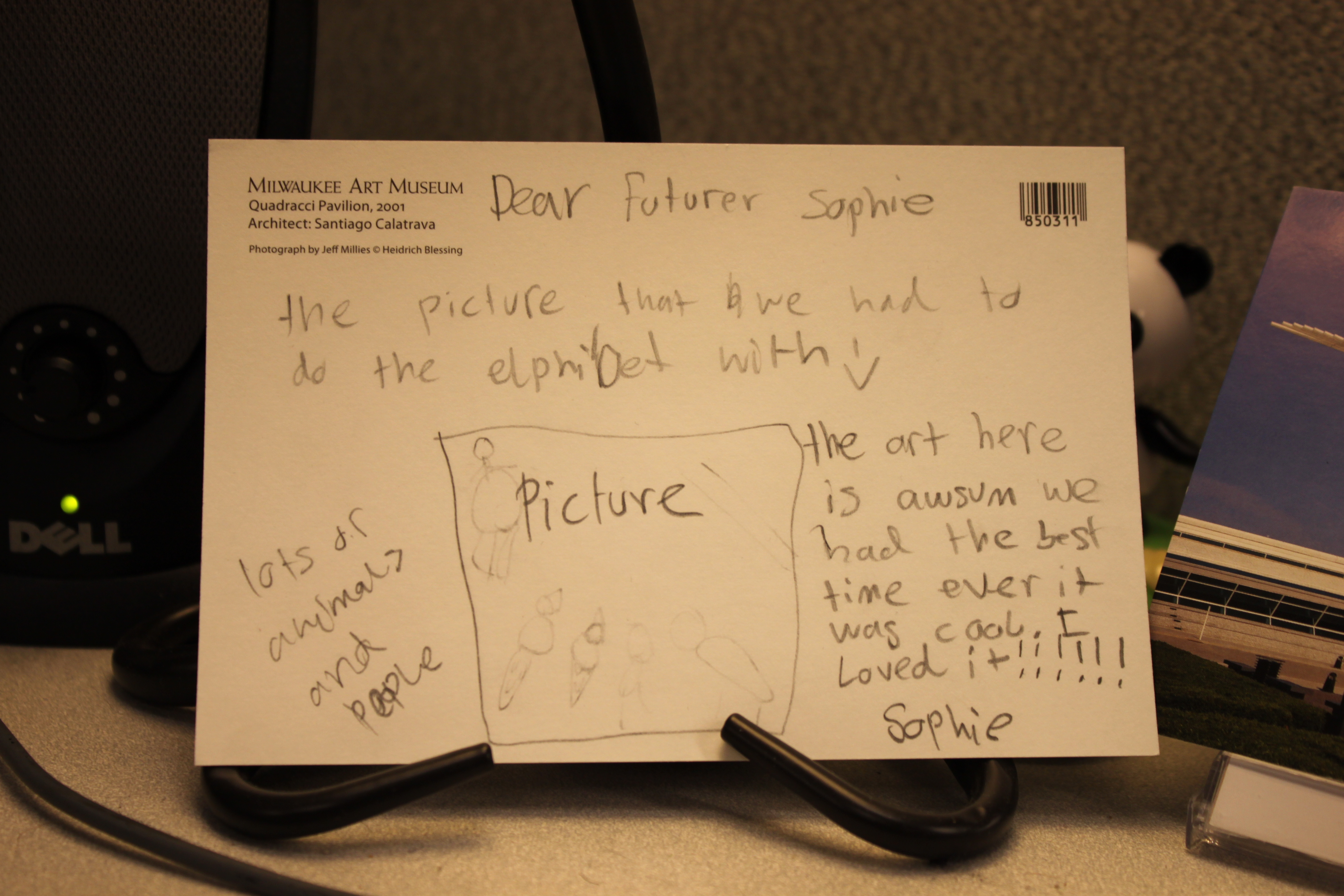 "Postcard from a student to their ""future self"""