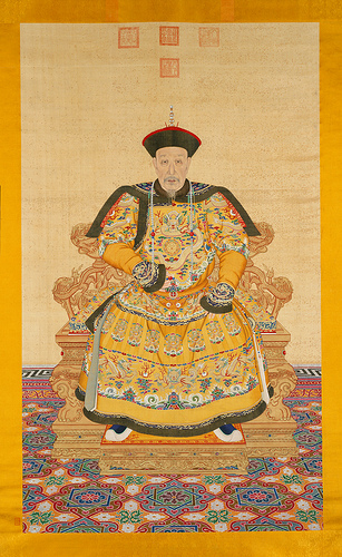 """Portrait of the Qianlong Emperor. Ink and colors on silk. 99 ½ x 59 inches (253 x 150 cm). (c) Palace Museum. This work is in """"The Emperor's Private Paradise: Treasures from the Forbidden City"""" exhibition at the Milwaukee Art Museum this summer."""