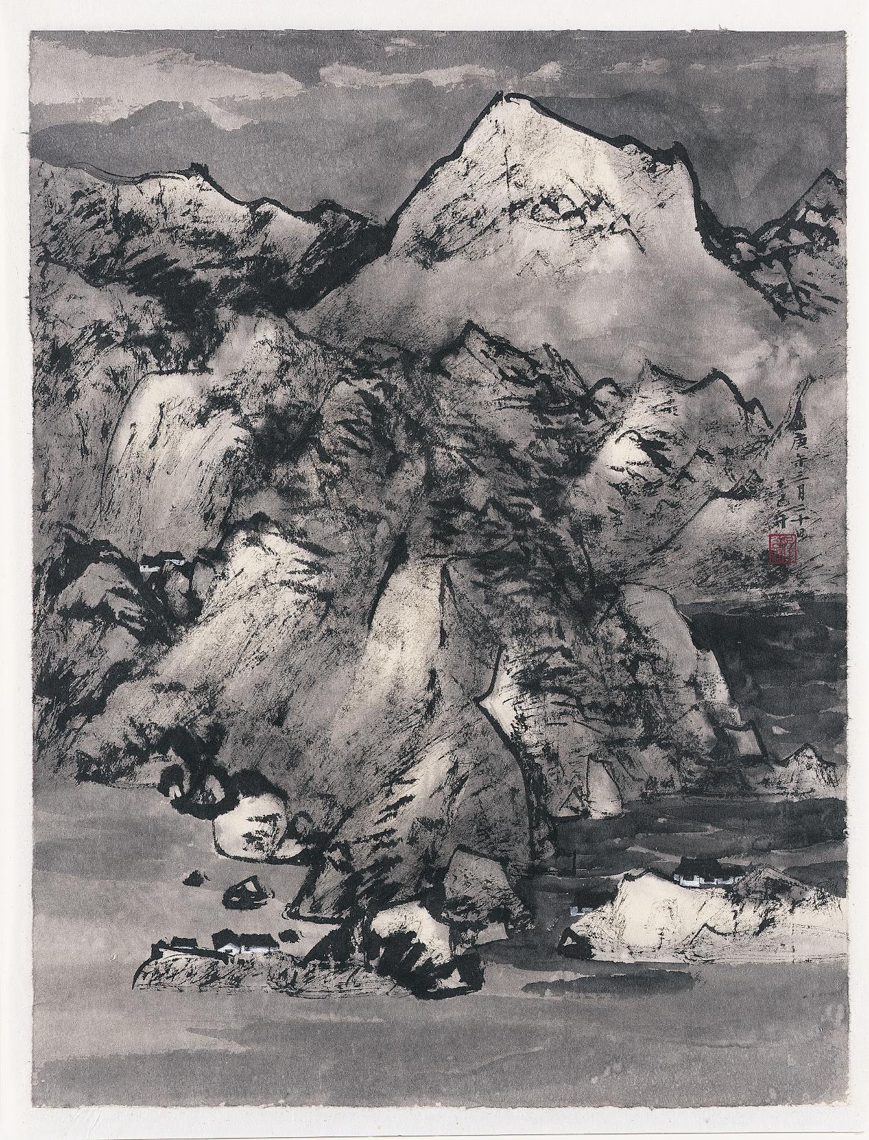 Wang Jiqian (CC Wang) (Suzhou, China, 1907–2003). Shanshui, 1990. Ink on paper. Chu-tsing Li and Family Collection. Photographed by Ken Howie.