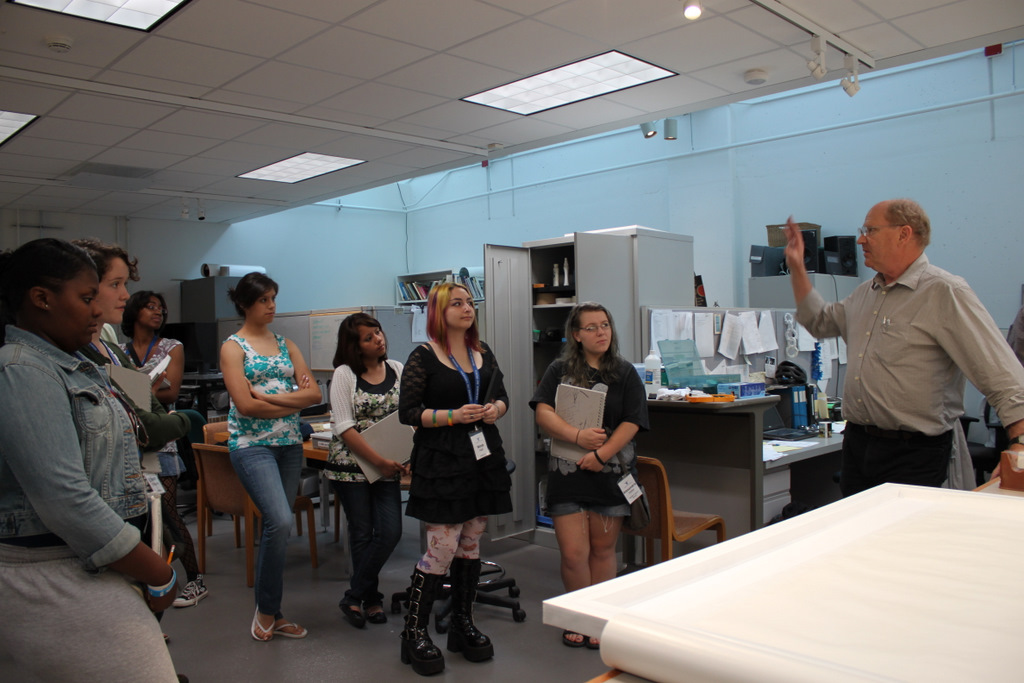 The teens visit Jim DeYoung, Senior Conservator at the Milwaukee Art Museum.