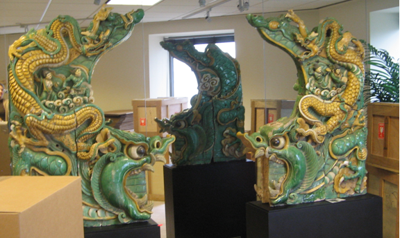 Pair of Roofline Ornaments (Chi Wen) in the Conley collection, Fall semester, 2005