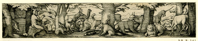 Print made by Virgil Solis (German, 1514 - 1562), Orpheus and the animals, 1540. Etching.  © The Trustees of the British Museum