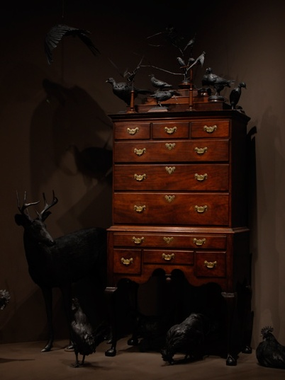 """View of """"Rooms of Wonder"""" installation. Attributed to Christopher Townsend (Newport, RI), High Chest, ca. 1745. Chipstone Foundation 1985.12. Hermaphrodite deer lent by Eric Ferguson. Photo by NAME HERE."""