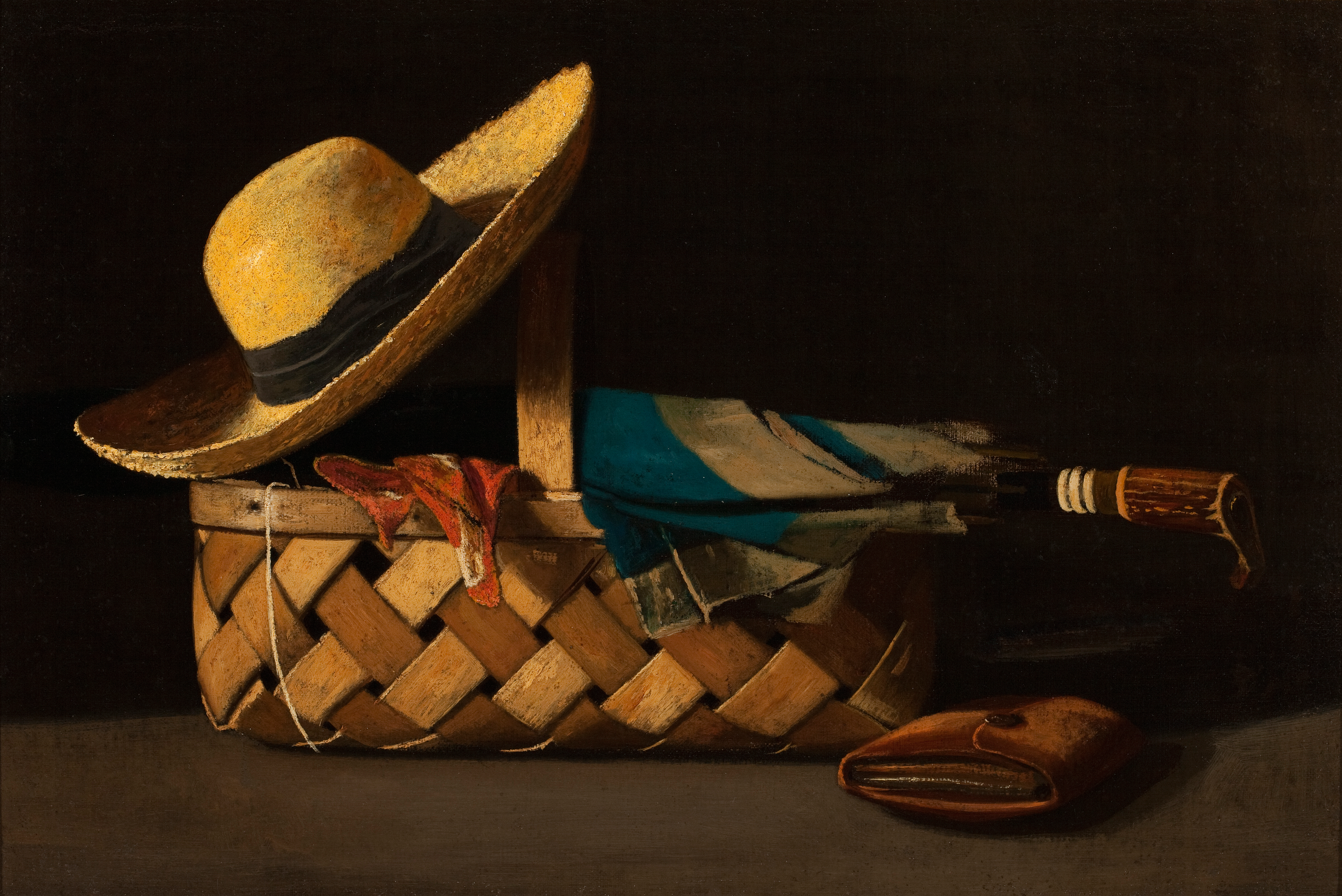 John Frederick Peto (American, 1854-1907) Market Basket, Hat and Umbrella, after 1890 Oil on canvas; 12 x 18 in. Milwaukee Art Museum, Layton Art Collection, Purchase, L1964.5 Photo by John R. Glembin