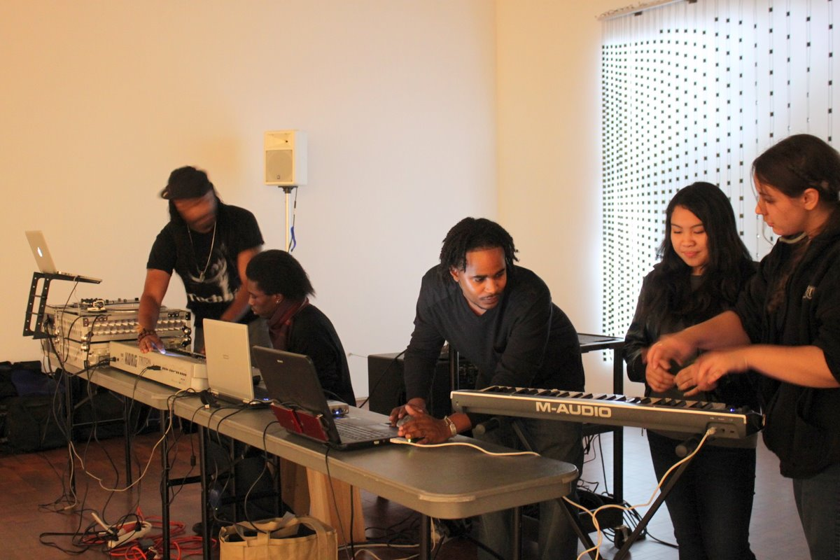 Inspired students making music. Photo by the author