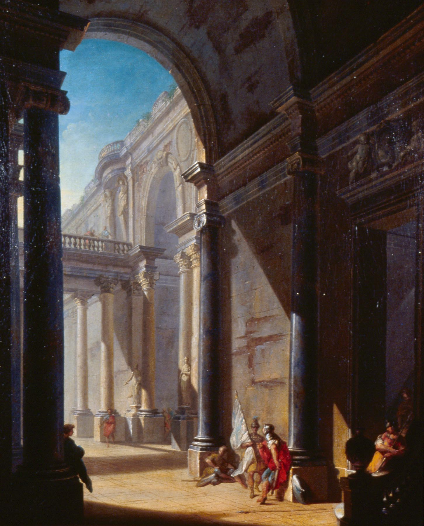 Attributed Girolamo Mengozzi, Architectural Fantasy with Figures, ca. 1750. Oil on canvas 34 3/8 x 28 in. Milwaukee Art Museum, Gift of Mr. and Mrs. Myron Laskin, M1982.37. Photo by P. Richard Eels.
