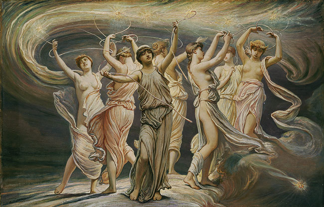 Elihu Vedder (American, 1836–1923),  The Pleiades, 1885. Oil on canvas; 24 1/8 x 37 5/8 in. The Metropolitan Museum of Art, Gift of George A. Hearn, 1910 (10.64.13)