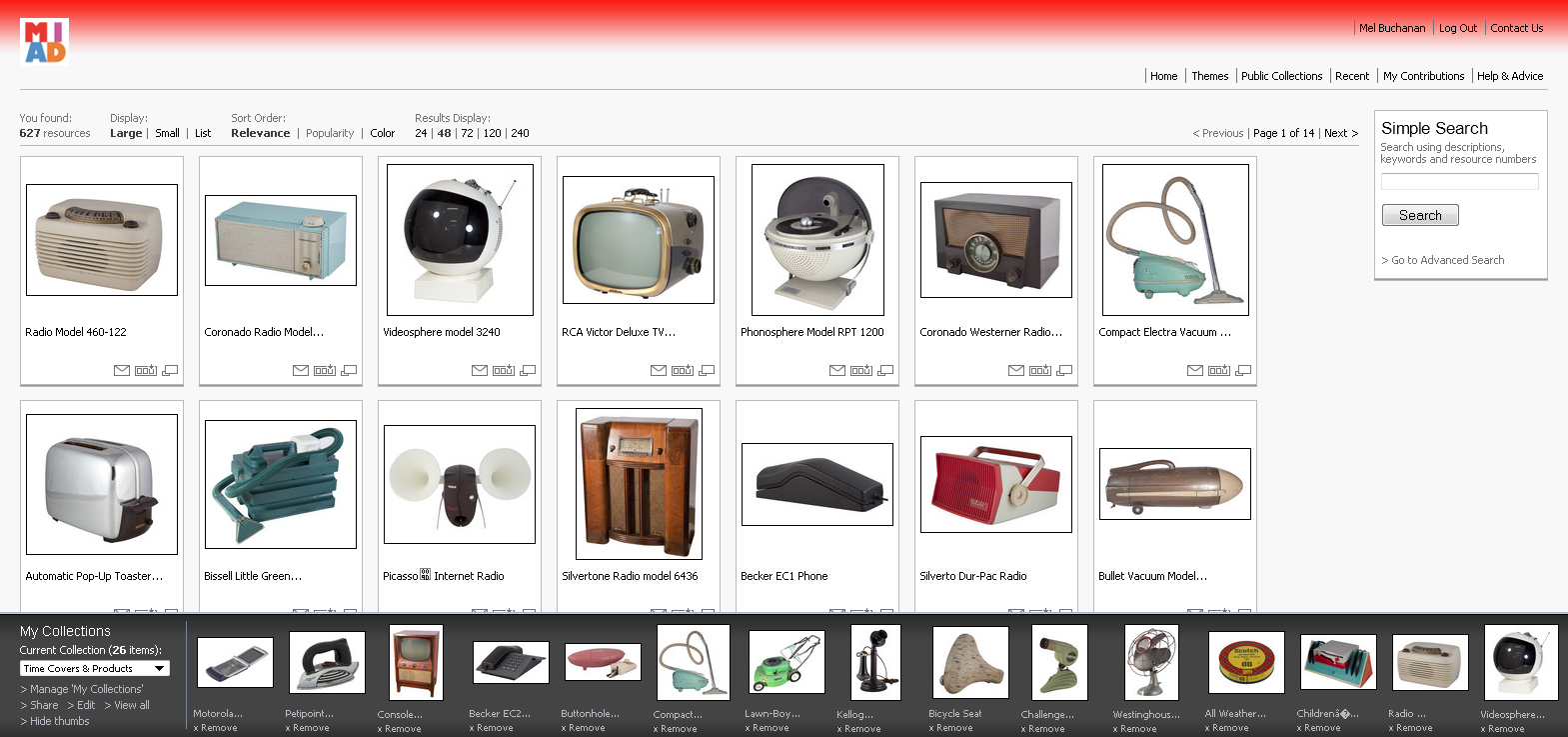 Screen shot showing MIAD digital catalog of design collection.
