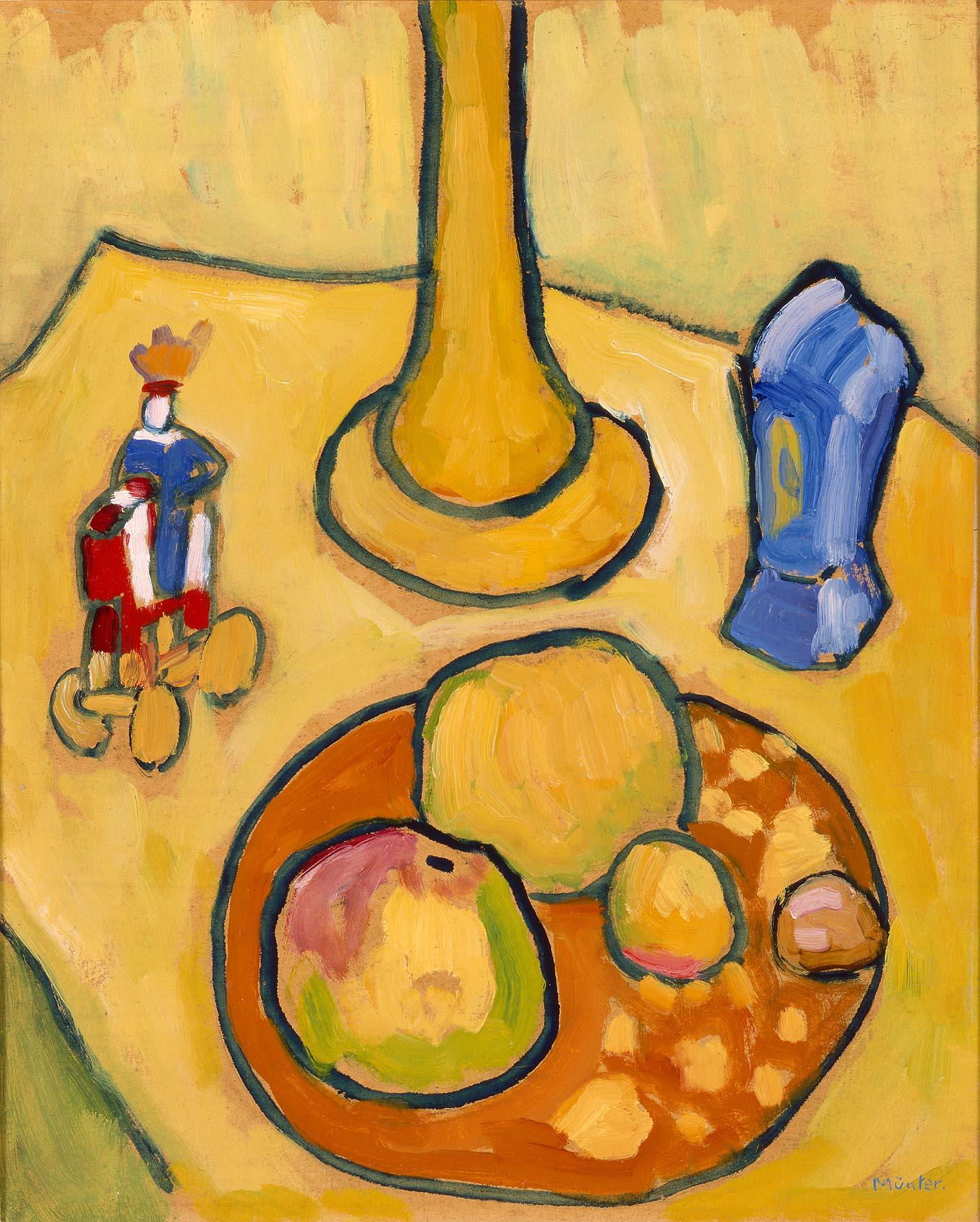 Gabriele Münter (German, 1877-1962).  Yellow Still Life.  1909.  Oil on cardboard.  Milwaukee Art Museum, gift of Mrs. Harry Lynde Bradley, M1975.156. Photo credit: Larry Sanders.