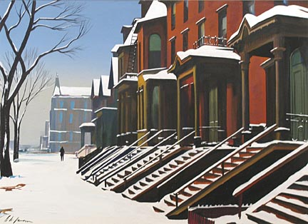 East Side Street in Winter Richard H. Jansen  n.d. Gouache sheet: 17 1/4 x 23 3/4 in. (43.82 x 60.33 cm)  Layton Art Collection, Gift of Layton Art League