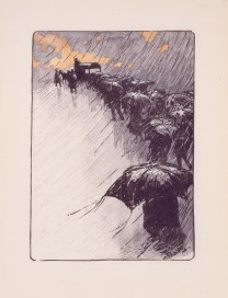 Henri Rivière (French, 1864–1951), Burial Procession with Umbrellas (L'Enterrement aux Parapluies),1891. Color woodcut, block: 13 1/16 x 9 11/16 in. Milwaukee Art Museum, Purchase, with funds from the Ralph and Cora Oberndorfer Family Trust, M2007.68. Photo by John R. Glemin.