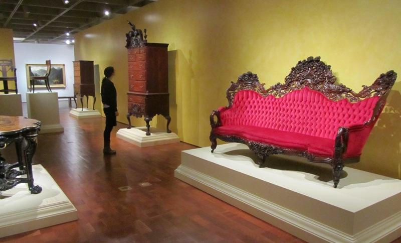 """Milwaukee Art Museum gallery, lower level """"American Collections"""" showing the Belter sofa on view. Photo by the author."""