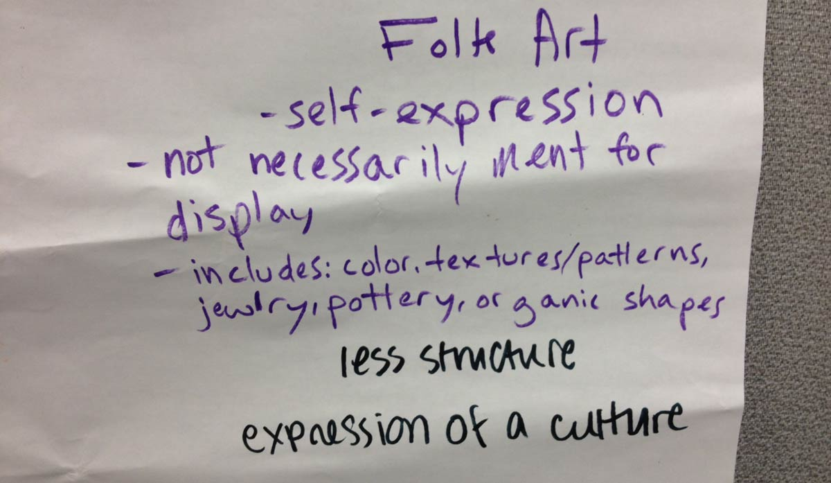Brainstorming possible meanings of art historical categorization. Photo by the author