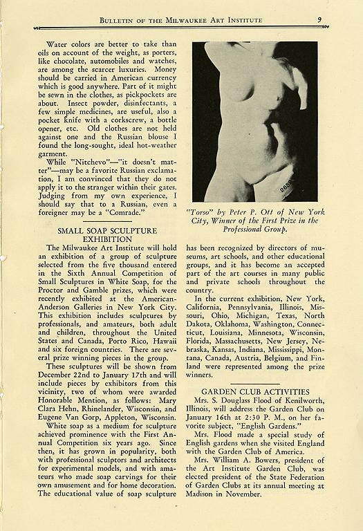 Milwaukee Art Institute Bulletin. January 1, 1931. Vol. 4, No. 5, Page 9