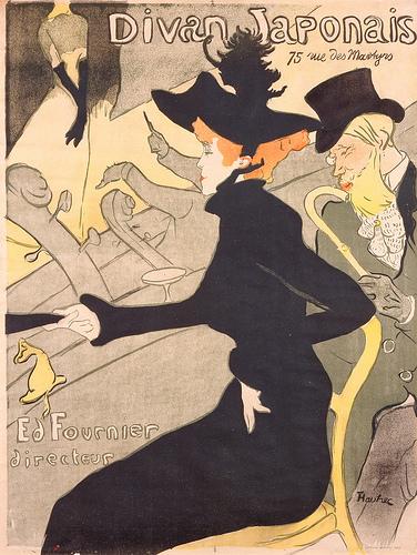 Henri de Toulouse-Lautrec, (French, 1864–1901), Divan Japonais, 1893. Color lithograph. Gift of Mrs. Harry Lynde Bradley. Photo by Larry Sanders.