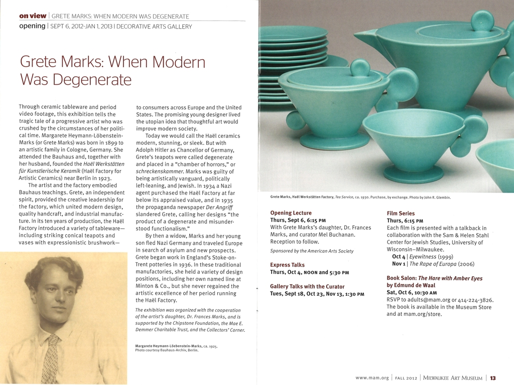 """The Museum's """"MAM Insider"""", fall 2012 issue. Pages 12 and 13."""