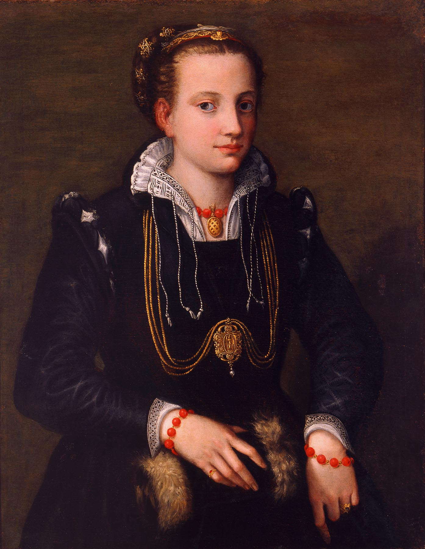 Sofonisba Anguissola (Italian, 1532–1625) The Artist's Sister Minerva Anguissola, ca. 1564 Oil on canvas 33 1/2 x 26 in. (85.09 x 66.04 cm) Layton Art Collection, Gift of the Family of Mrs. Frederick Vogel, Jr. L1952.1 Photo credit P. Richard Eells