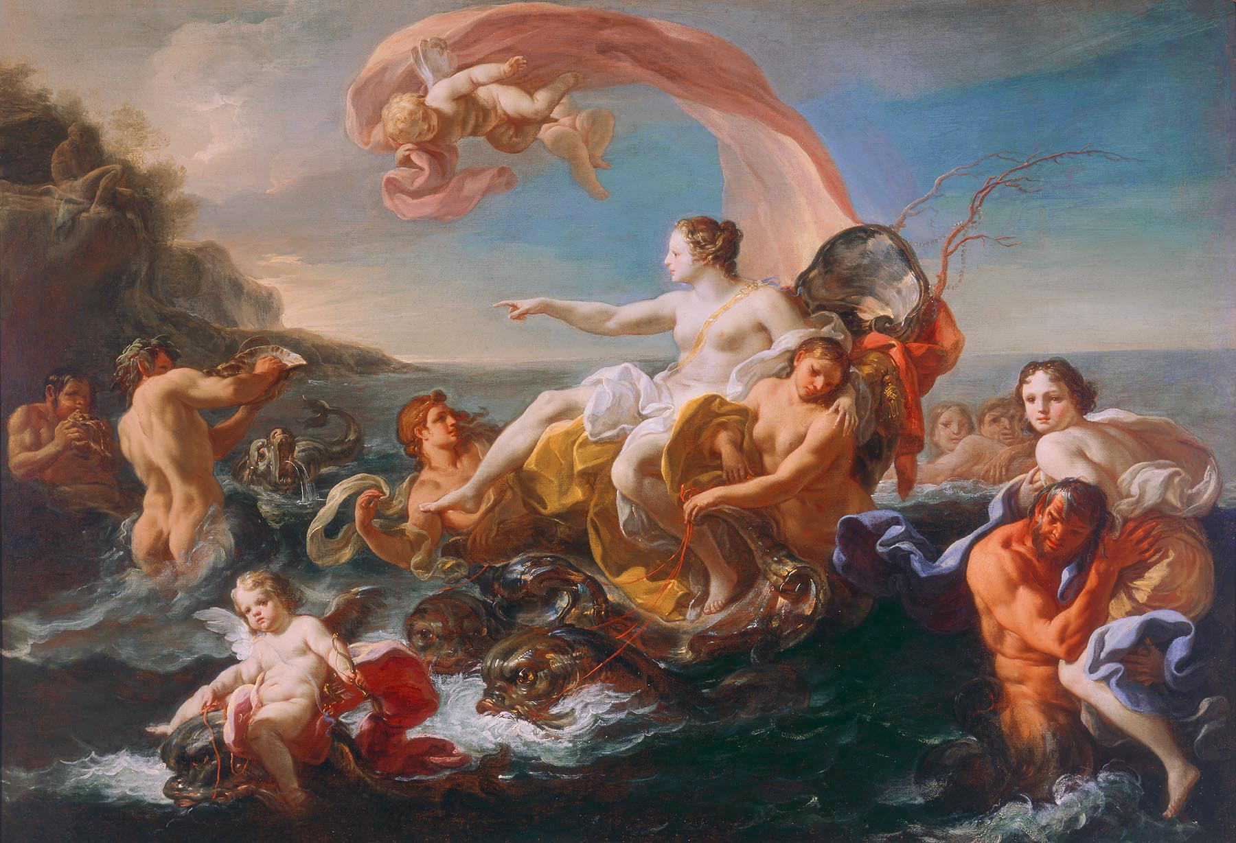 Corrado Giaquinto (Italian, 1703–1766) The Triumph of Galatea, ca. 1752 Oil on canvas 33 1/2 x 48 1/2 in. (85.09 x 123.19 cm) Gift of Mr. and Mrs. Myron Laskin M1970.68.2 Photo credit Larry Sanders