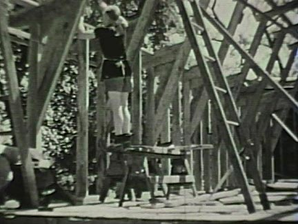Film still: Constructing the dormitory at Taliesin, early 1930s. Milwaukee Art Museum, Institutional Archives.