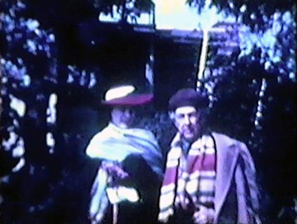 Film still: Frank Lloyd Wright and Olgivanna Wright in the garden, late 1930s-early 1940s. Milwaukee Art Museum, Institutional Archives.