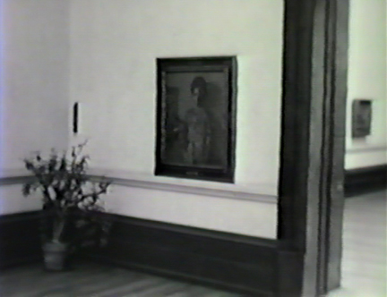 Film still: Hovsep Pushman's The Incense Burner in the Layton Art Gallery, circa 1957. Milwaukee Art Museum, Institutional Archives.