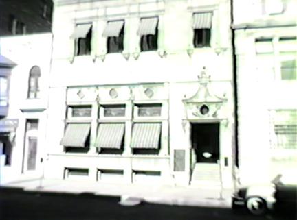 Film still: Exterior of the Milwaukee Art Institute, circa 1957. Milwaukee Art Museum, Institutional Archives.