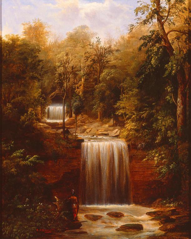 Robert S. Duncanson (American, 1821–1872). Minneopa Falls, 1862. Oil on canvas. Milwaukee Art Museum, Purchase, Andrew A. Ziegler Fund. Photo credit John R. Glembin