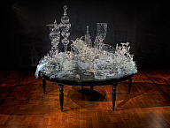 Beth Lipman (American, b. 1971). Laid Table (Still Life with Metal Pitcher), 2007. Blown, sculpted, lamp-worked, and kiln-formed glass on wood table. Milwaukee Art Museum, Purchase, Jill and Jack Pelisek Endowment, Jack Pelisek Funds, and various donors by exchange. Photo credit John R. Glembin © Beth Lipman