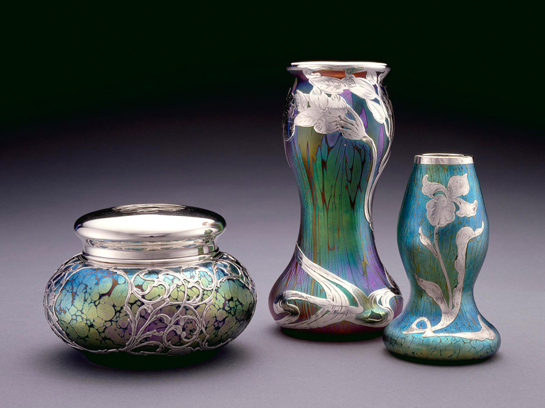 Probably Johann Löetz Witwe Glassworks (Klostermühle, Austria, 1836–1947), Metalwork by La Pierre Manufacturing Company (New York, 1885–1893, and Newark, New Jersey, 1893–1929), Vase, ca. 1905. Glass with silver overlay. Milwaukee Art Museum, Gift of Warren Gilson. Photo credit Steve Rahn