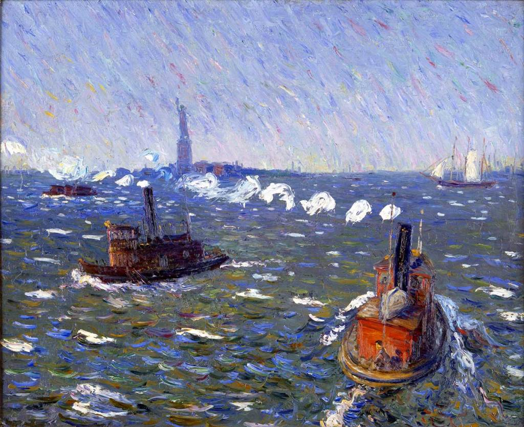 Tugboats out on the ocean