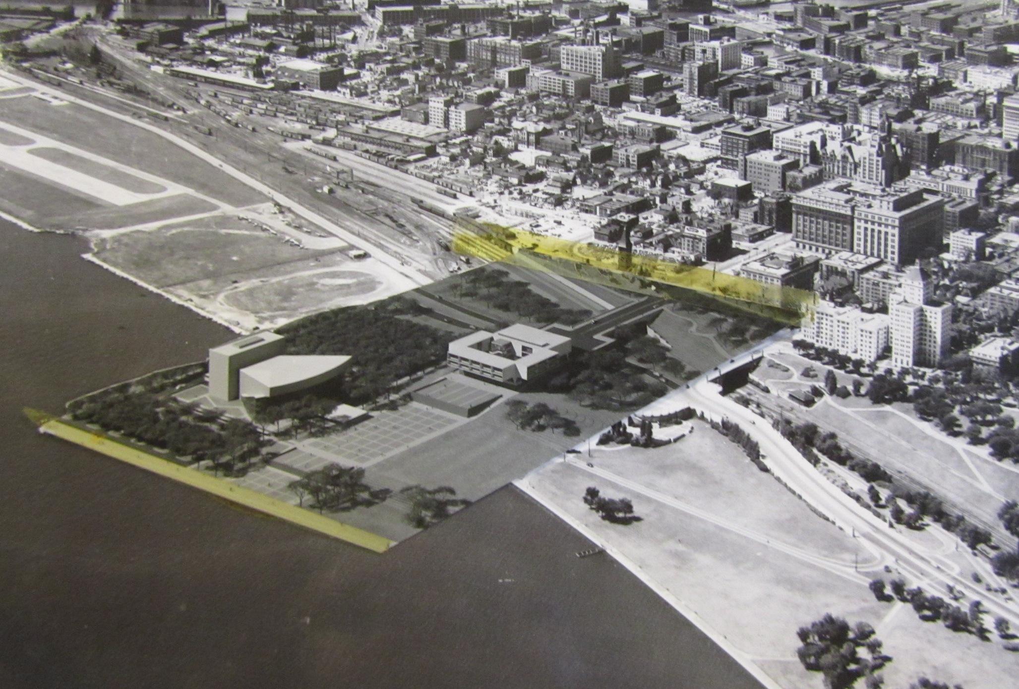Author's snapshot of Saarinen's War Memorial model taped on a Milwaukee aerial photo. Taken in Eero Saarinen collection, Manuscripts & Archives, Yale University.