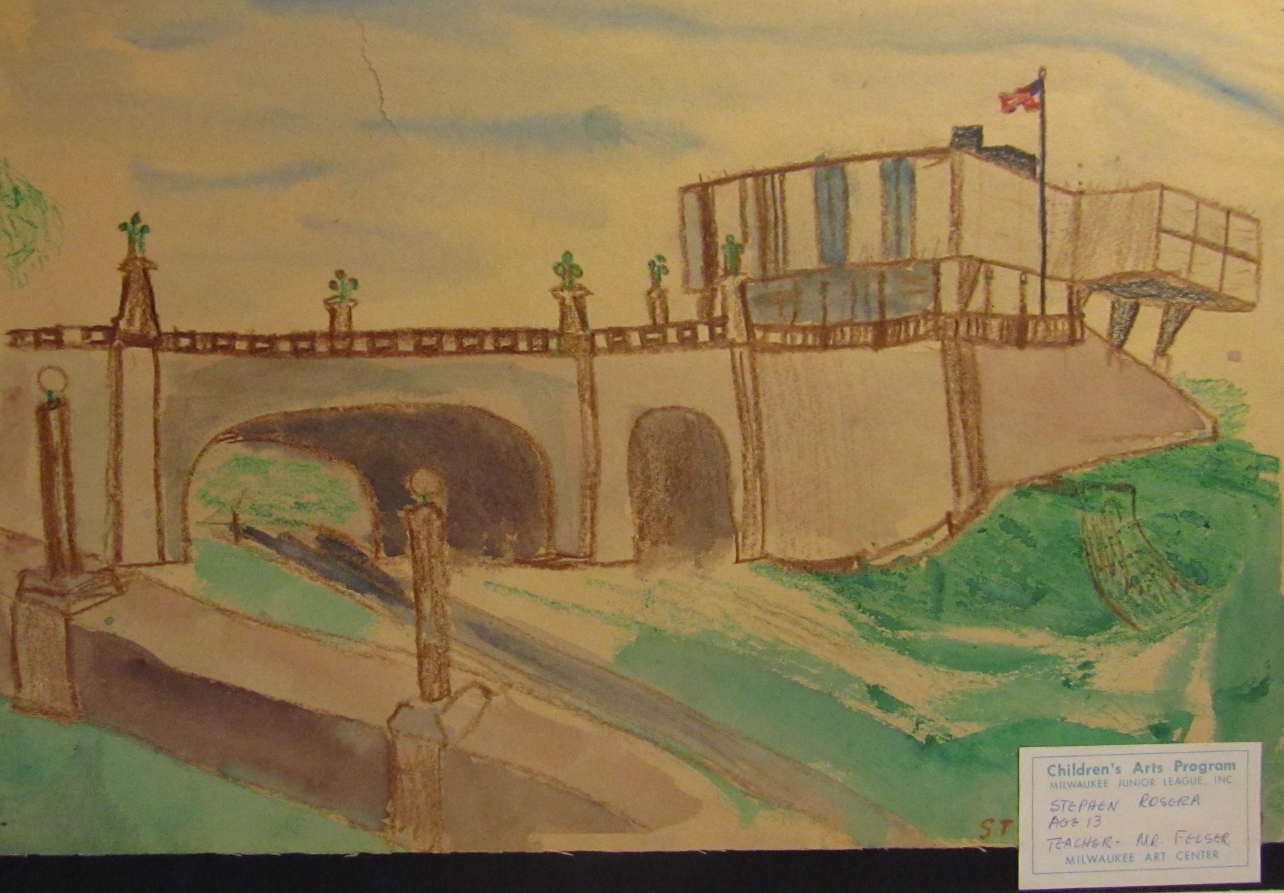 3) Author's snapshot of Stephen Rosera's 1959 sketch of Saarinen's War Memorial Building. Taken in Eero Saarinen collection, Manuscripts & Archives, Yale University.