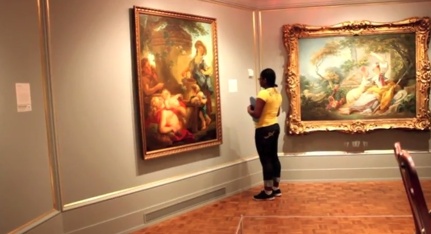 Rosella in the galleries. Screenshot from teens' final project video.