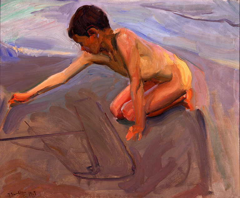 Joaquin Sorolla y Bastida (Spanish, 1863–1923). Drawing in the Sand, ca. 1911. Oil on canvas, 21 x 25 1/4 in. (53.34 x 64.14 cm). Milwaukee Art Museum, Gift of the Samuel O. Buckner Collection. Photo credit Larry Sanders