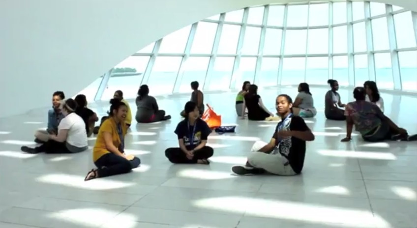 Teens in Windhover Hall. Screenshot from teens' final project video.