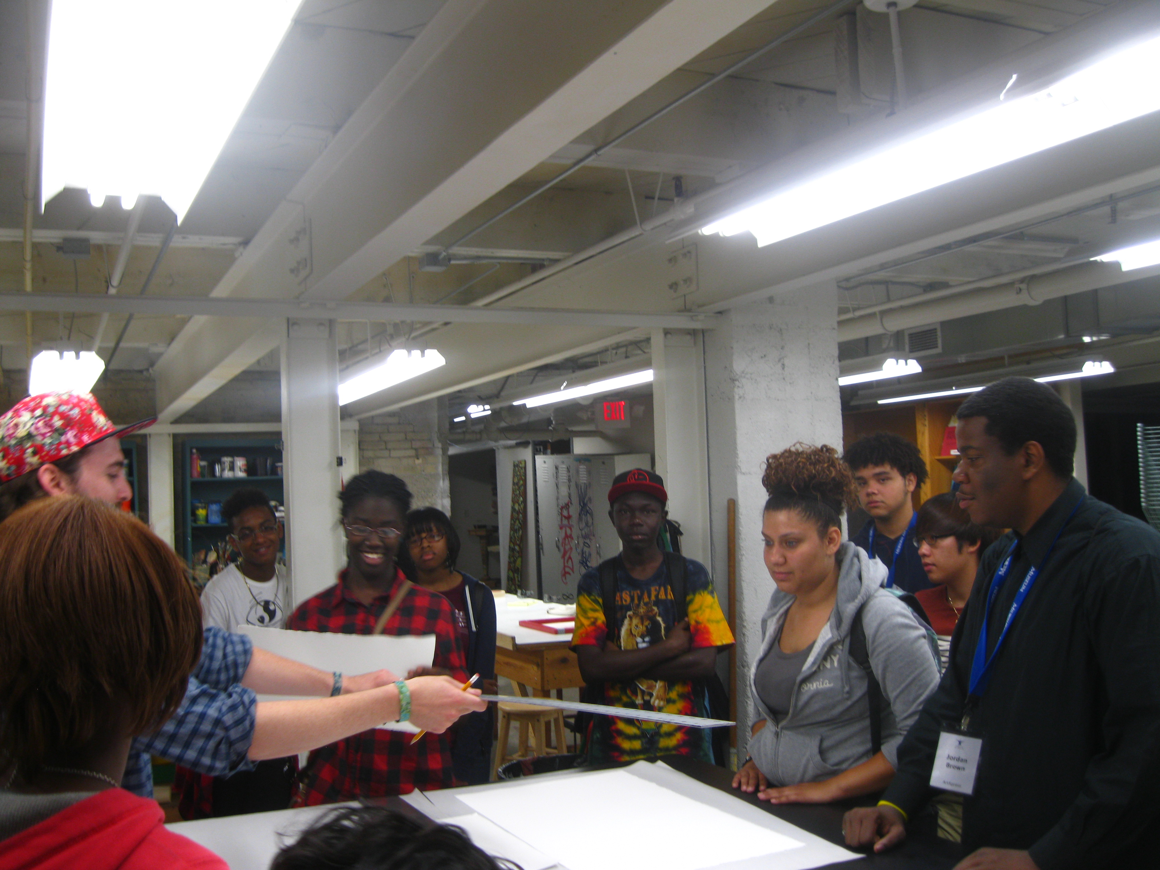 Teens get an introduction at RedLine Milwaukee. Photo by Tim Abel