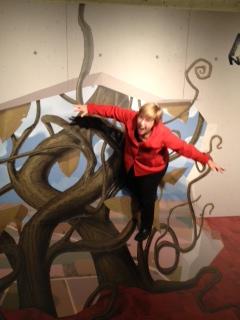 Brigid balancing on the vine. Photo courtesy Brigid Globensky