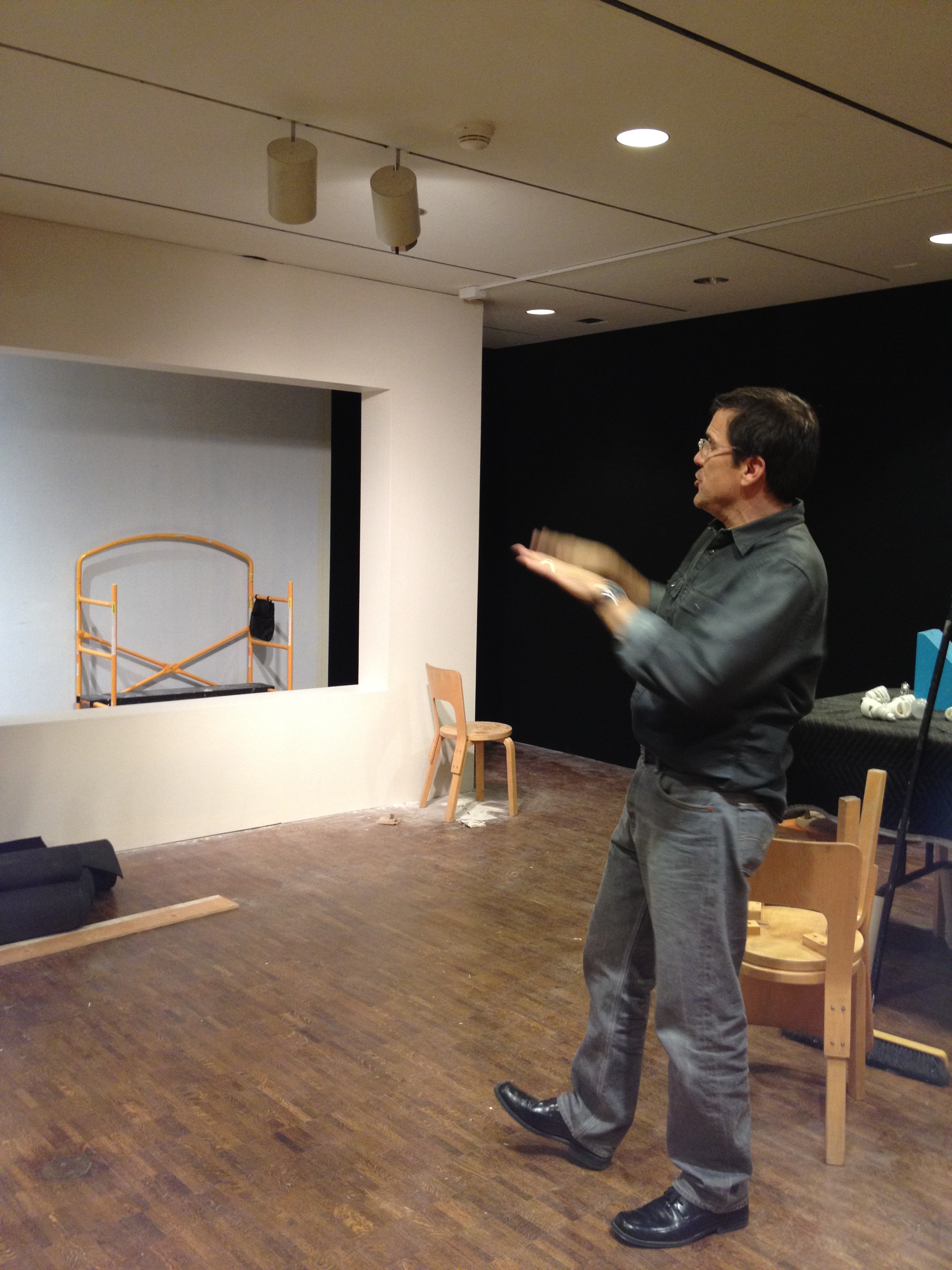 Exhibition Designer David Russick planning out an area of the exhibition. Photo by Brigid Globensky
