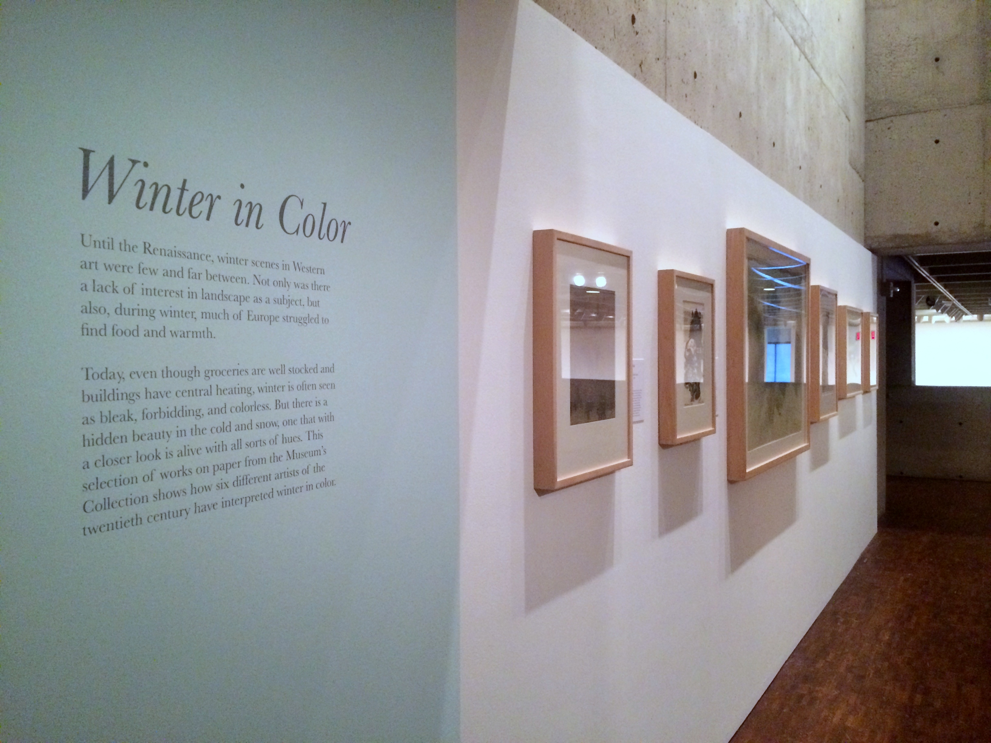 """View of """"Winter in Color"""" Mezzanine Installation. Photo by Chelsea Kelly"""