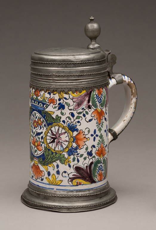 Probably Mainz, Germany, Tankard, ca. 1754. Tin-glazed earthenware with polychrome decoration and pewter. Milwaukee Art Museum, Gift of Mrs. Adolf Finkler M1937.15. Photo credit: John R. Glembin