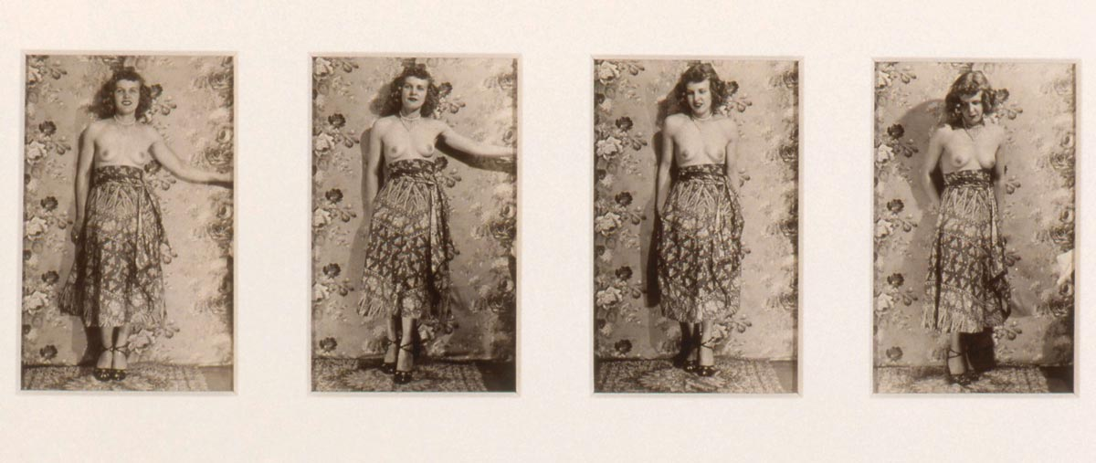 Four shots side by side of a topless woman posing for the camera