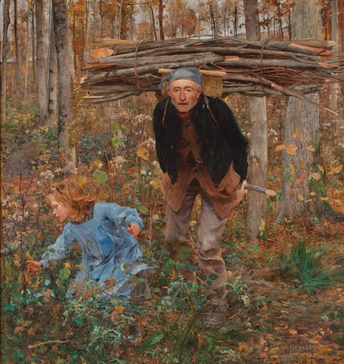Older man with wood on his back and a little child running in front