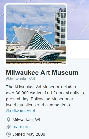 Screenshot of the Milwaukee Art Museum Twitter page, @MilwaukeeArt